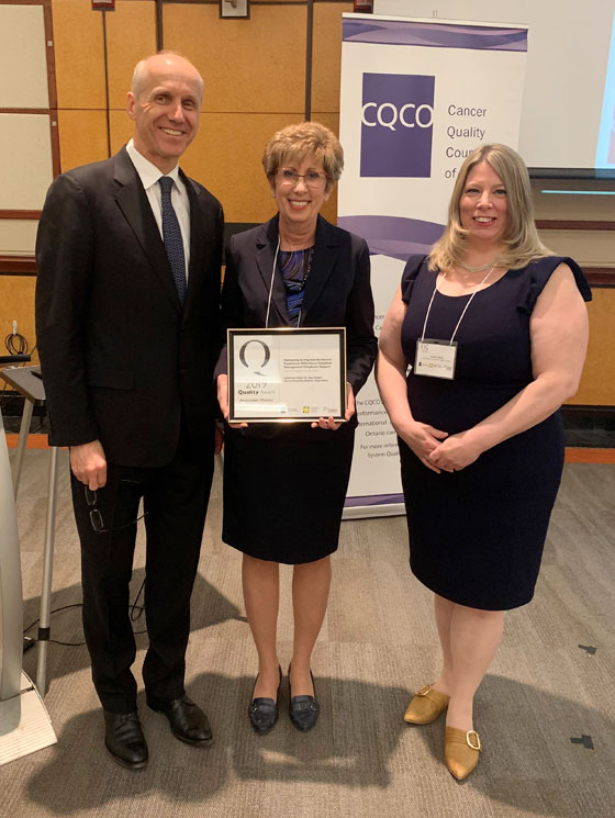 Members of the 2019 Honourable Mention team from Stronach Regional Cancer Centre, Southlake Regional Health Centre.